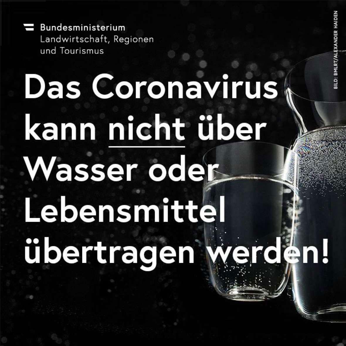 Grafik vom Ministerium mit der Botschaft, dass es keine Übertragung des Coronavirus über Wasser oder Lebensmittel gibt.