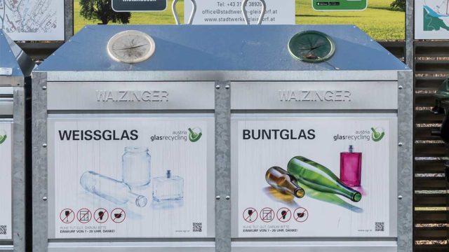 Container für Weißglas und Buntglas