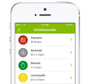 Ansicht des Abfallkalenders in der Gleisdorf App
